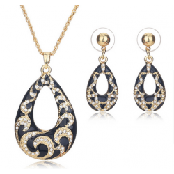 Set Bijuterii ST53 Black Gold Tear Drop Set Bijuterii, Set