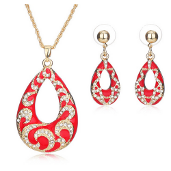 Set Bijuterii ST54 Red Gold Tear Drop Set Bijuterii, Set